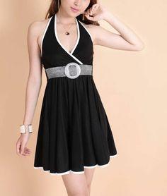 Open Back Black Halter Dress