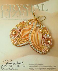 Aurora earrings embroidery and Shibori earrings by Happyland87