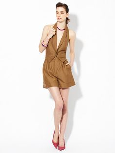 Marc by Marc Jacobs Ursula Silk Cotton Halter Vest Romper