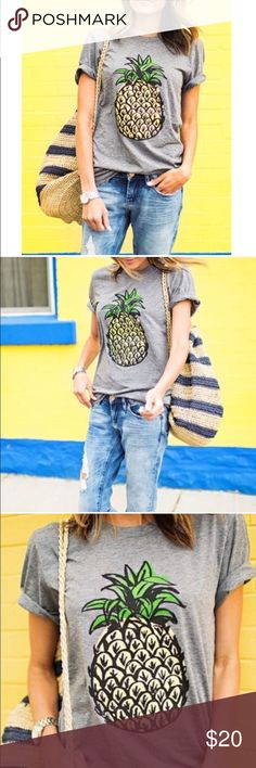 🎁 Pineapple tee 🎁 Loose fitting cute pineapple tee. Made of cotton blend. Perfect tee for casual Friday. Pet/smoke free home and ships within 24 hours. Reposhing only because I ordered the wrong size. 🎉HP 11/13🎉 Tops Tees - Short Sleeve