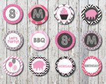 Pig Roast cupcake topper, Spa cupcake toppers, Pink and Black toppers, Printable cupcake toppers, Barbie cupcake toppers, Rockstar toppers,