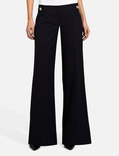 Drew Button Tab Modern Wide Leg Pants @The Limited Balance out your upper body with a wide pant leg.