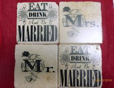 Mr & Mrs Tumbled Marble Coasters  Stone by JulieButlerCreations