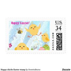 Happy chicks Easter stamp