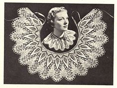 Ravelry: Cavalier Collar pattern by Marianne Kinzel Vintage Knitting, Lace Knitting, Vintage Crochet, Knitting Patterns Free, Sewing Patterns, Knitting Ideas, Crochet Collar, Lace Collar, Crochet Motif