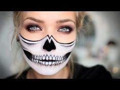 Half Skull Halloween Makeup Tutorial - #halloween #makeup #makeuptutorial #halfskull