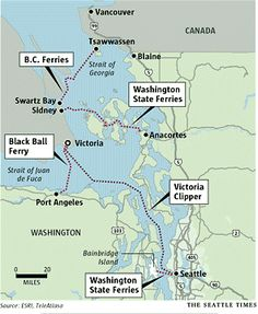Ways to travel between Seattle, Victoria and Vancouver Vancouver Island, Vancouver Seattle, Canada Vancouver, Seattle Ferry, Ways To Travel, Places To Travel, Travel Ideas, Travel Things, Sunshine Coast