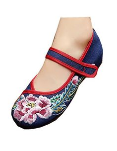 6d86fbc0832164 Tianrui Crown Womens Chinese Embroidery Peony Flats Ballet Shoes Sandals    You can find out more details at the link of the image.