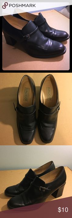 Calico black leather loafers stuck heel Gently used, leather loafer size 10 great for more conservative look. Man made sole. 3 inch heel. Adjustable clasp in front (great for Amish or Pilgrim costume !!!!) Calico Shoes Flats & Loafers
