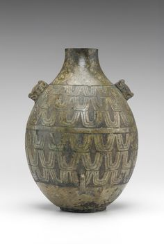 Ritual wine container (hu) 8th century B.C.E. Eastern Zhou dynasty Spring and Autumn Period  Bronze; cast H: 41.0 W: 28.5 D: 29.5 cm China  S1987.49  Chinese Art   Ritual wine container (