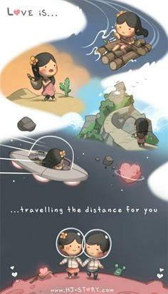 Travelling the distance - my favourite HJ-Story comic.Just right for long distance love Hj Story, Distance Love, Long Distance, Cute Love Stories, Love Story, Ah O Amor, Desenhos Love, Cartoons Love, Lovey Dovey