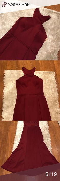 "Burgundy Gown Beautiful burgundy gown. Worn once. In great condition. Size 10 but taken in to fit a size 8. Length was cut to fit someone 5'2"" with 2.5 inch heels. 17 inches laying flat from underarm to underarm. This dress has padding so no bra is needed. Small stain - shown in pictures. Please ask any questions! Happy poshing! ❤️ Dresses Prom"