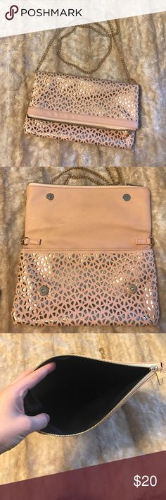 Pink/gold side purse or clutch Pink and gold side purse that can convert to a clutch. Worn once. Bags Shoulder Bags