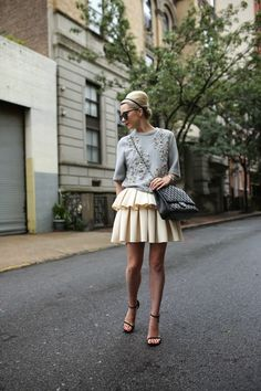 Top by Phillip Lim, skirt by Asos, bag by Chanel, shoes by Stuart Weitzman. Fashion Blogger Style, Look Fashion, Spring Fashion, High Fashion, Winter Fashion, Womens Fashion, Fashion Trends, Haute Couture Style, Karen Walker