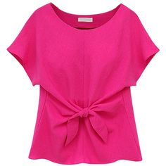 Choies Hot Pink Short Sleeve Tie Front Blouse ($15) ❤ liked on Polyvore