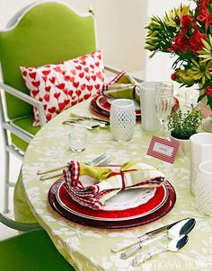 Colorful red and green summer table setting!
