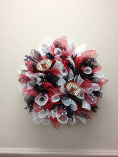 Red black white, UL, cards, football, deco mesh, wreath, curly