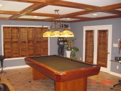 Stained plantation shutters with louvers are a handsome solution for a man cave that both the husband and wife will LOVE! Stain, Southern Accents, Windows, Billiard Table, Home Decor, Man Cave, Window Treatments, Shutters