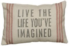 Live the Life - Linen Pillow  French Beach House Decor & Furniture