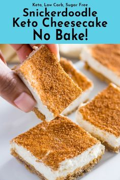 Snickerdoodle Keto Cheesecake No Bake (Low Carb, Sugar Free) This keto cheesecake no bake snickerdoodle version is super easy and sweet. Low carb with an almond flour crust or crustless sweetened with stevia. Keto Desserts, Keto Friendly Desserts, Dessert Recipes, Breakfast Recipes, Dinner Recipes, Dessert Bars, Dessert Mousse, Keto No Bake Cheesecake, Cheesecake Recipes