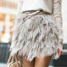 Feathered mini skirt.