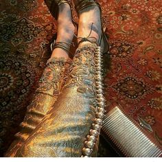 """#beautiful #embroidery #cigarettepants #pearls #trousers #brocade #jamawar #highheels #gold #golden #desibeautyblog #hudabeauty #asianbridesblog…"""