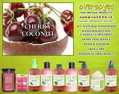 Cherry Coconut Product Collection - An island favorite. Newly fallen coconuts halved to reveal creamy, sweet perfection! A pure coconut fragrance with tart sweet cherries. #OverSoyed #CherryCoconut #Cherry #Coconut #MixedFruits #MixedFruit #Fruity #Fruit #Candles #HomeFragrance #BathandBody #Beauty