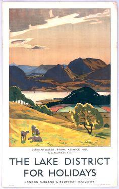 National Railway Museum Art Print, Lake District - Derwentwater from Keswick Hill x 28 cm Art Print/Poster) Posters Uk, Railway Posters, Poster Prints, Art Prints, Lake District, Travel English, British Travel, National Railway Museum, Retro Poster