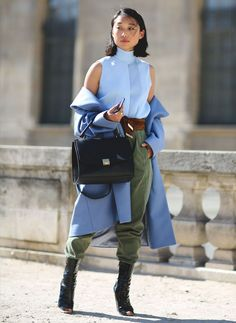 military-pants-street-style-boots-blue-coat-paris-fashion-week
