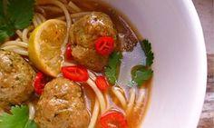 Vietnamese style meatball noodle soup