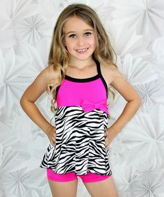 bc94c06823 Niva-Miche Clothes Fuchsia   Black Zebra Babydoll Tank   Shorts - Toddler    Girls