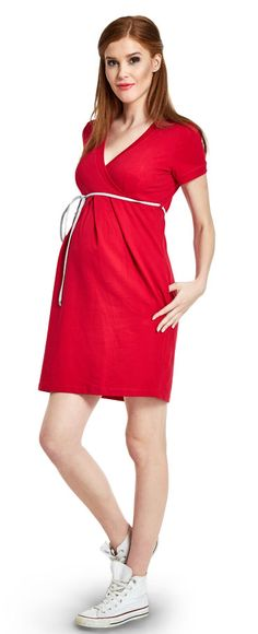 Comfy red платье из хлопкового трикотажа для беременных и кормящих