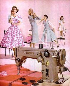 The Nifty Fifties — Singer sewing machine advertisement. Vintage Dresses, Vintage Outfits, Vintage Fashion, 50s Dresses, Vintage Beauty, Retro Fashion, Midcentury Modern, Moda Vintage, Vintage Ads