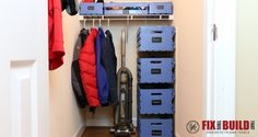 How to organize your closet clutter with floating pallet crate storage. Clean up your pantry with unique sliding crates. Save space and add organization!