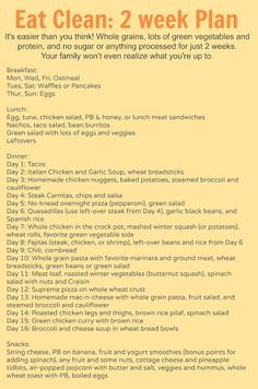 2-week plan for eating without sugars. Complete with recipes for three meals per day.