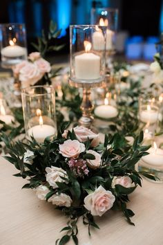 Wedding Centerpiece Inspiration - Photo: Chris J. Romantic Wedding Centerpieces, Wedding Table Settings, Wedding Table Centerpieces, Reception Decorations, Wedding Flowers, Centerpiece Ideas, Reception Ideas, Sunset Wedding, Mod Wedding