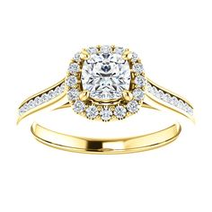 14kt Yellow Gold 5mm Center Cushion Cubic Zirconia or 16 Halo Diamonds and 18 Accent  Diamonds Engagement Ring...(ST122888:510:P).! Price: $1039.99