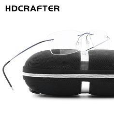 87dff33fb R$ 66.46 49% de desconto|HDCRAFTER marca designer mulheres Unissex Armações  de Óculos Sem Aro de Titânio Miopia Frame Ótico Óculos Sem Armação De  Titânio ...