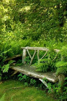 Out in the back, in a space between the cabin and the vegetable garden, there was a bench just like this.