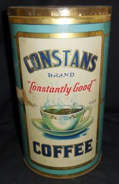 Constans Brand Coffee Coffee Is Life, I Love Coffee, Coffee Break, Antique Coffee Grinder, Coffee Grinders, Coffee Stands, Coffee Tin, Vintage Tins, Vintage Coffee