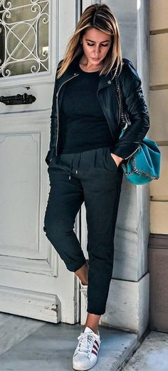 #fall #outfits · Black Leather Jacket + Black Sweater & Pants