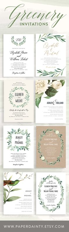 Greenery Wedding Invitations - Trending 2017 - DIY Templates
