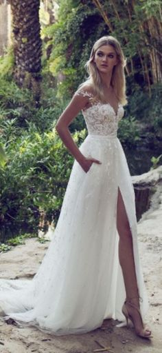 Lace Boho Off the shoulder Cap Sleeves Long Country Slit Wedding Gown, Beach Wedding Dress