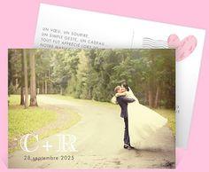 Remerciement mariage sous forme de carte postale pour dire merci avec votre plus belle photo de mariage, réf.N11162