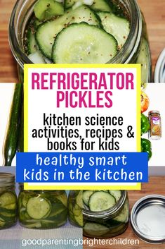 Here's how to make the best refrigerator pickles. Easy, simple, quick, and nutritious. Kids will learn about fermentation, vinegar & kitchen science. Use the cucumbers from your garden for a multi-sensory experience. Refrigerator Pickle Recipes, Best Refrigerator, Vegetarian Recipes Easy, Real Food Recipes, Yummy Food, Kids Picnic, Picnic Ideas, Kitchen Science, Healthy Snacks For Kids
