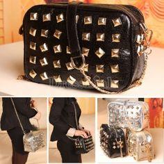 $9.40Fashion Women's Shinning Rivet Synthetic Leather Bag Purse One Shoulder Bag Handbag