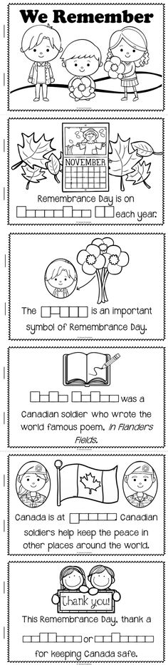 This mini-book is included in my Remembrance Day Canada unit! Made especially for Grade One or Two teachers. Remembrance Day Activities, Remembrance Day Art, My Little Kids, Playing With Numbers, Canadian Soldiers, Writing Strategies, Writing Ideas, Paragraph Writing, Vocabulary Worksheets