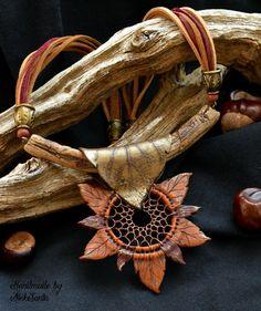 Polymer clay necklace pendant Polymer clay by HandmadeByAleksanta