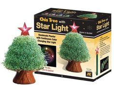 """CHIA Tree with Starlight 1 ea by Joseph Enterprises, Inc. $16.68. Chia Pet with real plants. Top star light changes color and adds sparkle. Super holiday decoration. Cute tree shape. Great for outdoors. Add some sparkle to your patio these summer evenings with a pretty """"tree"""" glowing with little starry lights."""