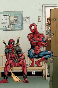 Deadpool and spiderman got in trouble again.... unfortunately i have no idea what's up with Deadpool's rubber chicken... LOL